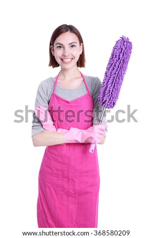 happy Cleaning woman housewife mother excited smile to you isolated on white background - stock photo