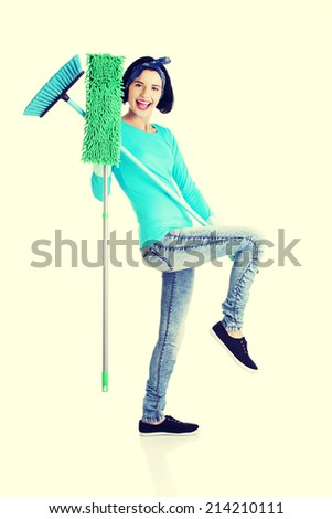 Happy cleaning woman portrait, isolated on white - stock photo