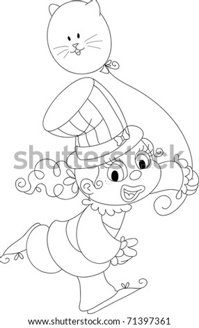 Happy clown girl playing with a balloon. Coloring illustration. - stock photo