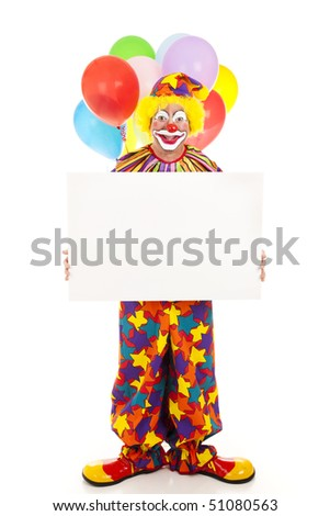 Happy clown holding a blank sign.  Full body on white. - stock photo