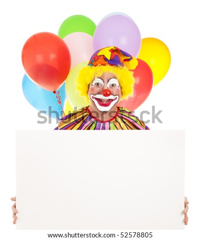 Happy clown holding a blank sign ready for your text.  White background. - stock photo