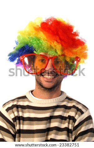 happy clown over white background - stock photo