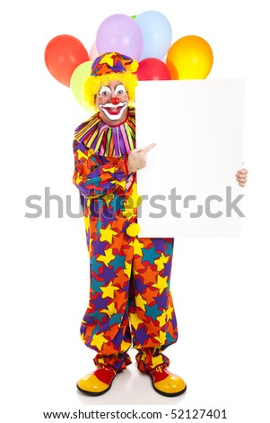 Happy clown points to blank sign, ready for text.  Full body isolated on white. - stock photo