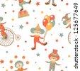 Happy clowns seamless pattern - stock photo
