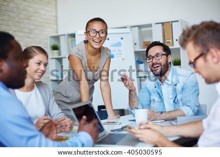Happy colleagues - stock photo