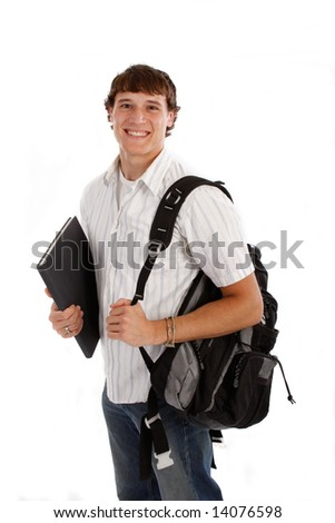 Happy College Student Isolated on White - stock photo