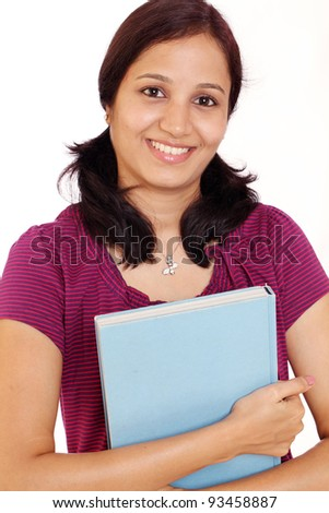 Happy college student with text books