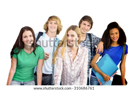 Happy college students against white background with vignette