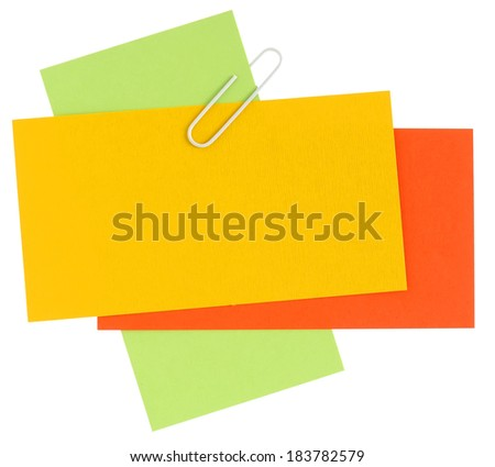 Happy color blank papers with staple - stock photo