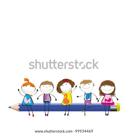 Happy colorful kids on desk with crayon - stock photo