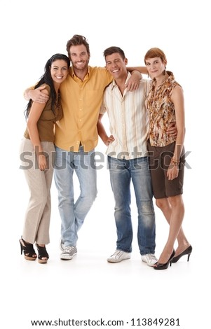 Happy companionship standing embracing, smiling, looking at camera. - stock photo