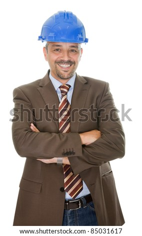 Happy construction engineer isolated on white background - stock photo