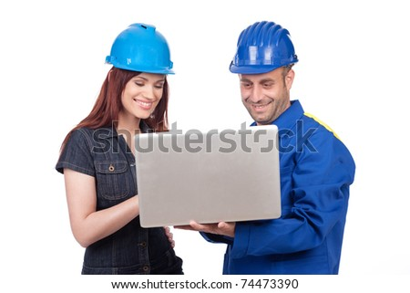 Happy construction engineers isolated on white background - stock photo
