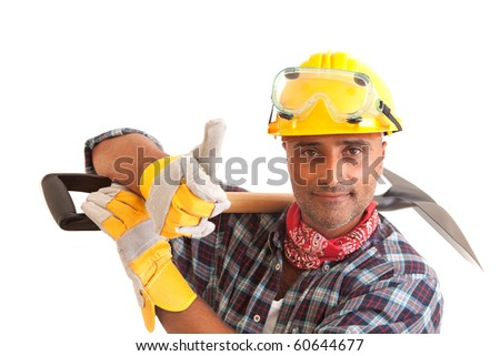 Happy construction worker, isolated on white - stock photo