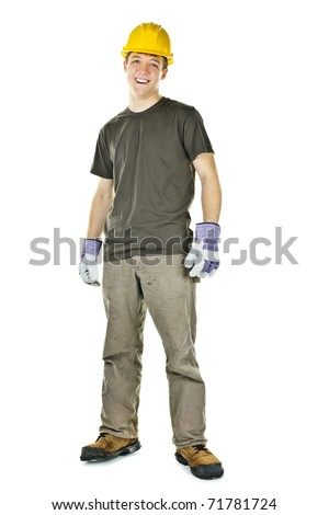 Happy construction worker with hard hat full body standing isolated on white background - stock photo
