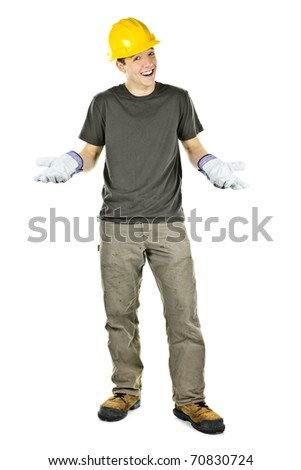 Happy construction worker with hard hat shrugging isolated on white background - stock photo