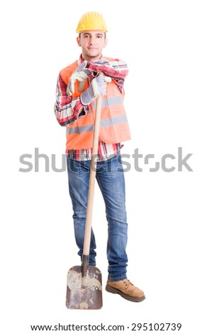 Happy constructions worker resting on the shovel full body on white background - stock photo