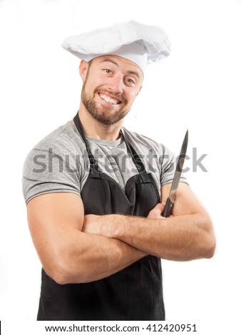Happy cook holding knife, isolated on white background - stock photo