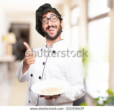 happy cook man with soup