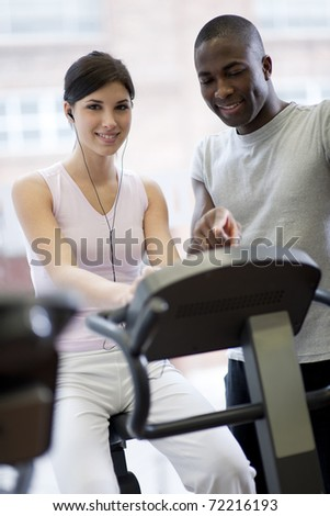 Happy couple at gym - stock photo