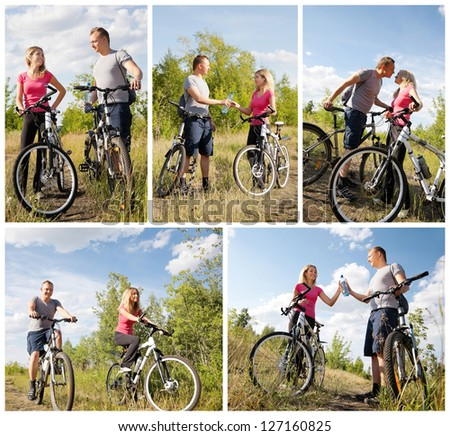happy couple biking in the forest at summer
