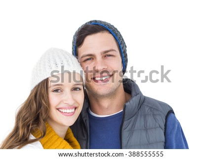 Happy couple embracing head to head on white background - stock photo
