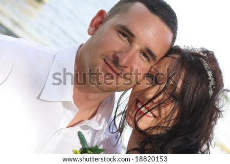 happy couple headshot - stock photo