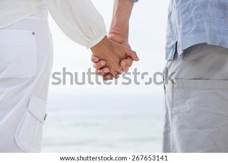 Happy couple holding hands and looking at the sea at the beach - stock photo