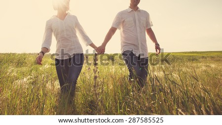 Happy couple holding hands walking through a meadow, tinted photo - stock photo