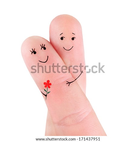 happy couple hug with flower concept, painted at fingers isolated on white background - stock photo
