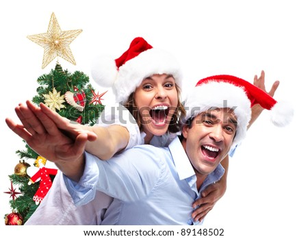 Happy couple in love and Christmas Tree. Isolated on white background. - stock photo