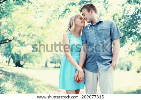 Happy couple in love, date, romance, wedding - concept - stock photo