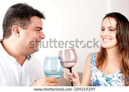 Happy Couple in love, toasting . - stock photo