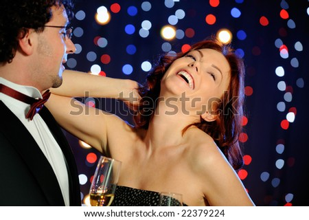 Happy couple in the club - stock photo
