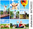 Happy couple in the park. People outdoors. Collage. - stock photo