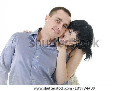 happy couple in the studio on a white background - stock photo