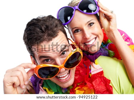 Happy couple. Isolated over white background. Party. - stock photo