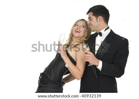 happy couple laughing in new year celebration - stock photo