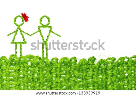Happy couple love concept with text space, infant simplicity design from woolen knit - stock photo
