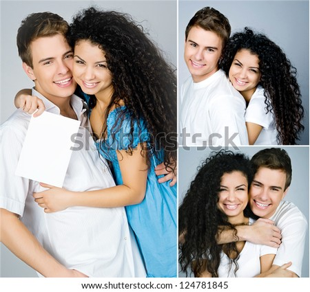 happy couple on a blue  background. collage - stock photo