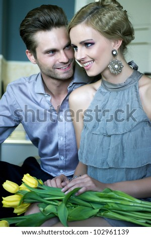 Happy couple on date - stock photo
