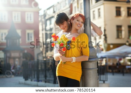 Happy couple on date - stock photo
