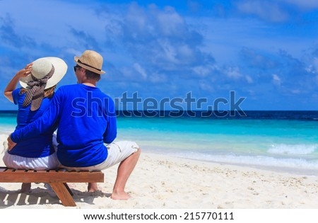Woman large sunhat holiday on tropical stock photo for Tropical vacations for couples