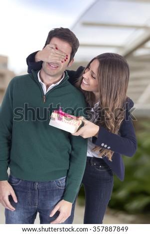 Happy couple on Valentines day - stock photo