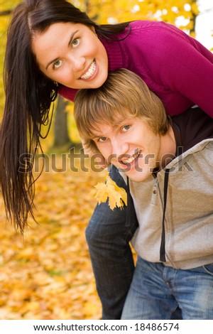Happy couple outdoors - stock photo