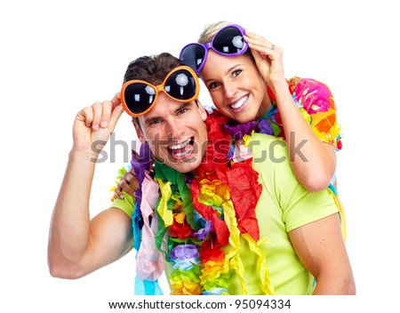 Happy couple. Party. Isolated over white background. Party. - stock photo