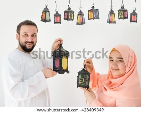 Happy couple ready for Ramadan - stock photo