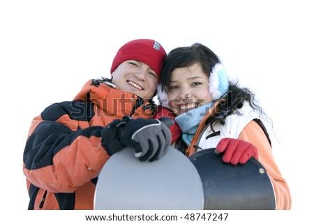 Happy couple. Snowboarders in love. - stock photo