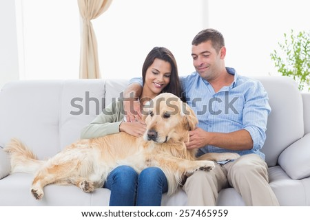 Happy couple stroking dog while sitting on sofa at home - stock photo