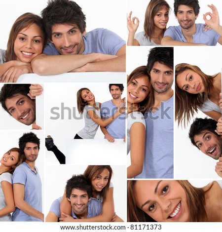 Happy couple, studio shots - stock photo